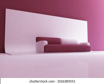 sofa in the room, 3d rendering