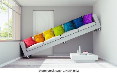 Sofa in a room too small - 3D illustration