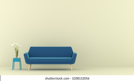 sofa with small table and tree in green modern living room. Minimal style concept. pastel color style. 3D render.