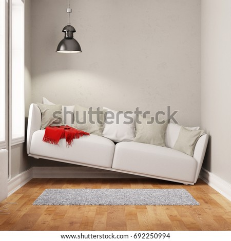Sofa Squeezed Small Narrow Living Room Stockillustration 692250994