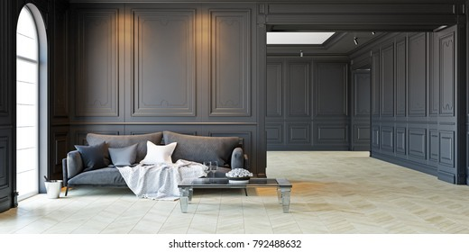 Sofa and table in classic black interior. 3D render interior mock up.