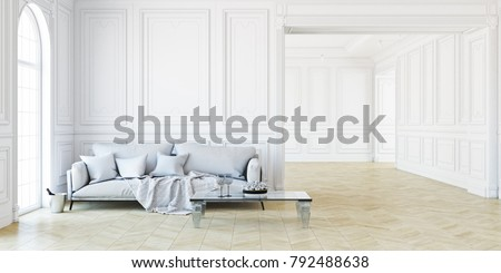 Sofa And Table In Classic White Interior. 3D Render Interior Mock Up.