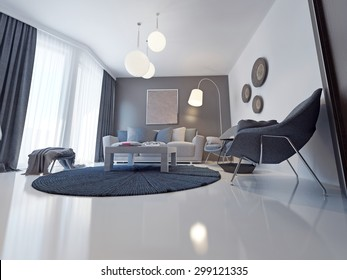 Sofa of tissue in a modern living room. 3D render