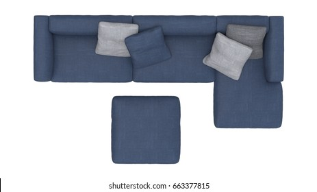 Sofa top view. 3D Rendering icon for interior floorplans. Concept model.