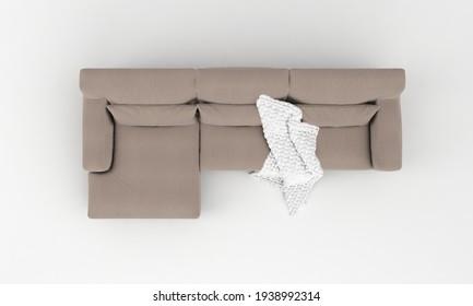 Sofa Top View furniture 3D Rendering