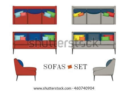 Beau Furniture For Your Interior Design. Illustration. Top, Front And Side