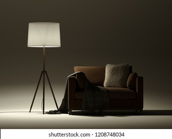 Soft armchair with floor lamp in dark background. Isolated brown chair with cozy light torchere. 3d render