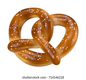 Soft baked pretzel isolated on white 3D rendering angled view