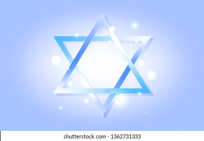 Soft blue background with Star of David. Lights. Jewish wallpaper. Judaism. Print design. Trendy gradient with mesh.