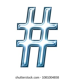 Soft blue chrome metallic hashtag social media icon or pound sign symbol 3D illustration with a smooth shiny metal finish in an icy light blue color with a bold type font on white with clipping path
