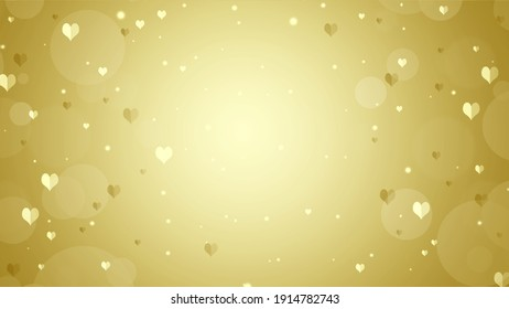 Soft blurred gold background with hearts and circles. Valentines day bokeh background