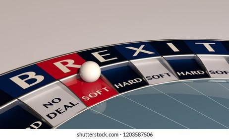 Soft brexit roulette  - concept gambling