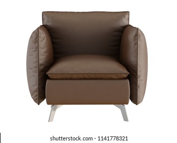Soft brown armchair with iron legs on a white background 3d rendering