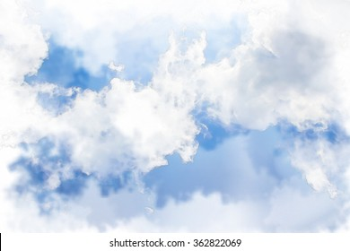 Soft clouds in blue sky for background with watercolor techniques.