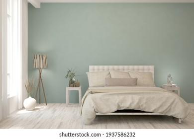 Soft color bedroom interior. Scandinavian design. 3D illustration