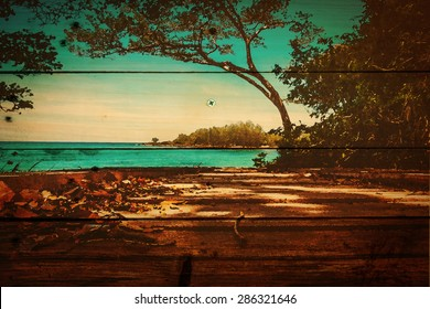 soft focus of coconut tree and beach wooden bed on white sand with beautiful blue sea over clear blue sky ,on wooden background texture, watercolor filter. Kood island Trat Province, Thailand.