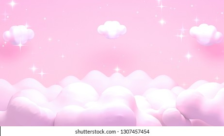 Soft pastel pink starry night sky. Shimmering stars effect. 3d rendering picture.