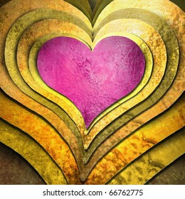 soft pink heart in layers of golden hearts with metallic bronzed lighting and abstract grunge texture