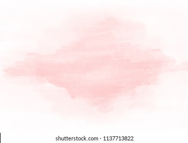 Soft pink watercolor stain is smeared on a homogeneous background. Background for banners, advertisements, business cards, invitations.