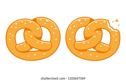 Soft pretzels, traditional German bread snack and beer party appetizer. Isolated cartoon illustration.