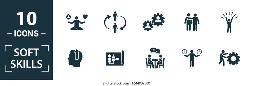Soft Skills icon set. Include creative elements team spirit, personality, self-promotion, motivating, negotiation icons. Can be used for report, presentation, diagram, web design.