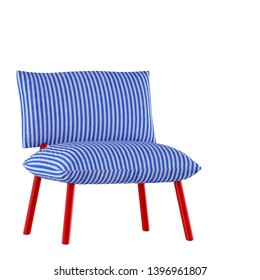 Soft striped chair on a white background 3d rendering