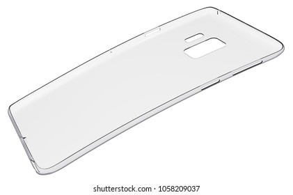 Soft transparent mobile phone case isolated on white. 3D rendering