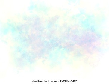 Soft violet blue watercolor stains in the center  with white borders background, old tie dye paper in pastel summer sky colors