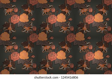 Soft watercolor rose flower print ~ seamless pattern in orange, brown and gray colors. Raster illustration.