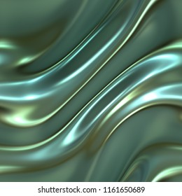 Soft waves seamless texture on shiny blue background, leaf foil, pearl and nacre, 3d illustration