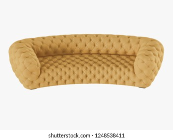 Soft yellow sofa capitone front view 3d rendering