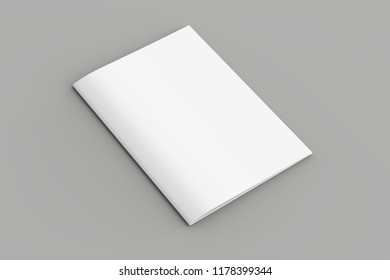 Softcover magazine or brochure mock up isolated on soft gray background. 3d illustration
