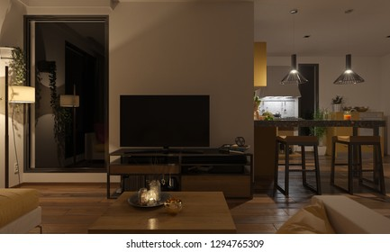 Softly Illuminated Lounge and the Kitchen 3D Rendering