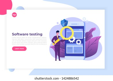 Software or application flat  concept.  Debugging development process.  illustration.
