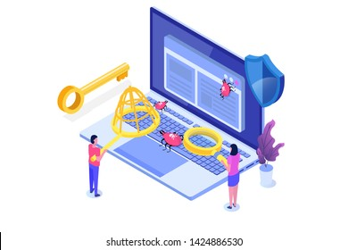 Software or application testing  isometric  concept.  Debugging development process.  illustration.