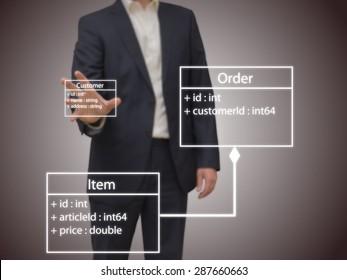 Software Architect designing an UML model on a screen. 3D Illustration