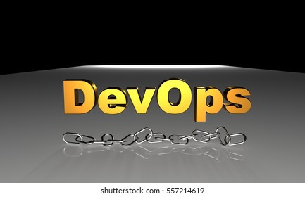 Software development and operations concept, DevOps text in 3d with chrome chain as symbol of tools connect both development and operations
