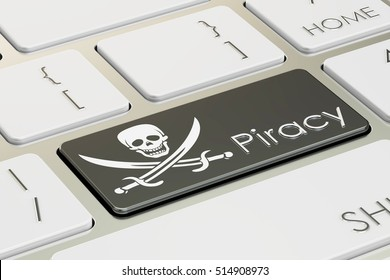 software piracy concept, on the computer keyboard. 3D rendering
