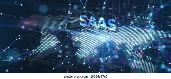Software as a Service Saas. Software concept. Business, modern technology, internet and networking concept.3D illustration