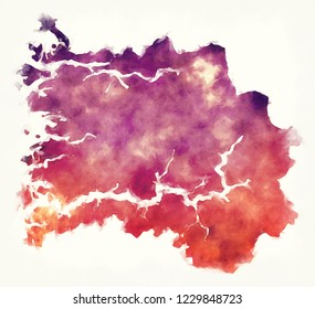 Sogn og Fjordane region watercolor map of Norway in front of a white background