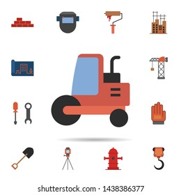soil compactor, flattener, steamroller icon. Universal set of construction for website design and development, app development