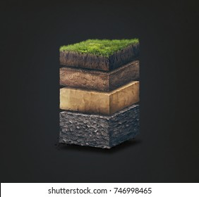 Soil layers. Cross section soil layers. 3D illustration isolated on dark background