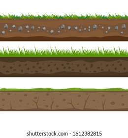 Soil seamless layers. Layer of soil with grass and stones. The texture of the cut soil. graphics.