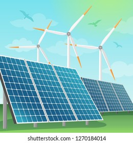 Solar batteries and windmills illustration. Production of eco renewable energy in nature, alternative sources of energy.