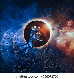 Solar eclipse astronaut / 3D illustration of astronaut floating in space during solar eclipse