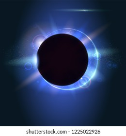 Solar eclipse, astronomical phenomenon - full stur eclipse. Fuzzy light rays and lens flare of lights on backdrop. Glow light effect. Planet covering the Sun in eclipse phenomenon.