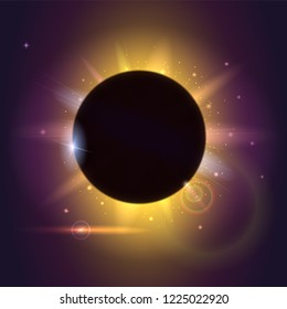 Solar eclipse, cosmic phenomenon - full sun eclipse. Fuzzy light rays and lens flare of lights on backdrop. Glow light effect. Planet covering star, astronomical phenomenon of eclipse.
