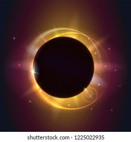 Solar eclipse, cosmic phenomenon - full sun eclipse. Blurred rays of lights and glow of lights on backdrop. Planet covering star, astronomical phenomenon of eclipse. Template for cover, leaflets.
