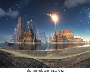 Solar Eclipse over Alien Lake Landscape