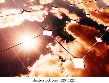 Solar energy concept Warm sky reflection on photovoltaic panel. 3D rendering.
